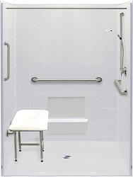 three piece 61 x 61 wheelchair accessible corner shower